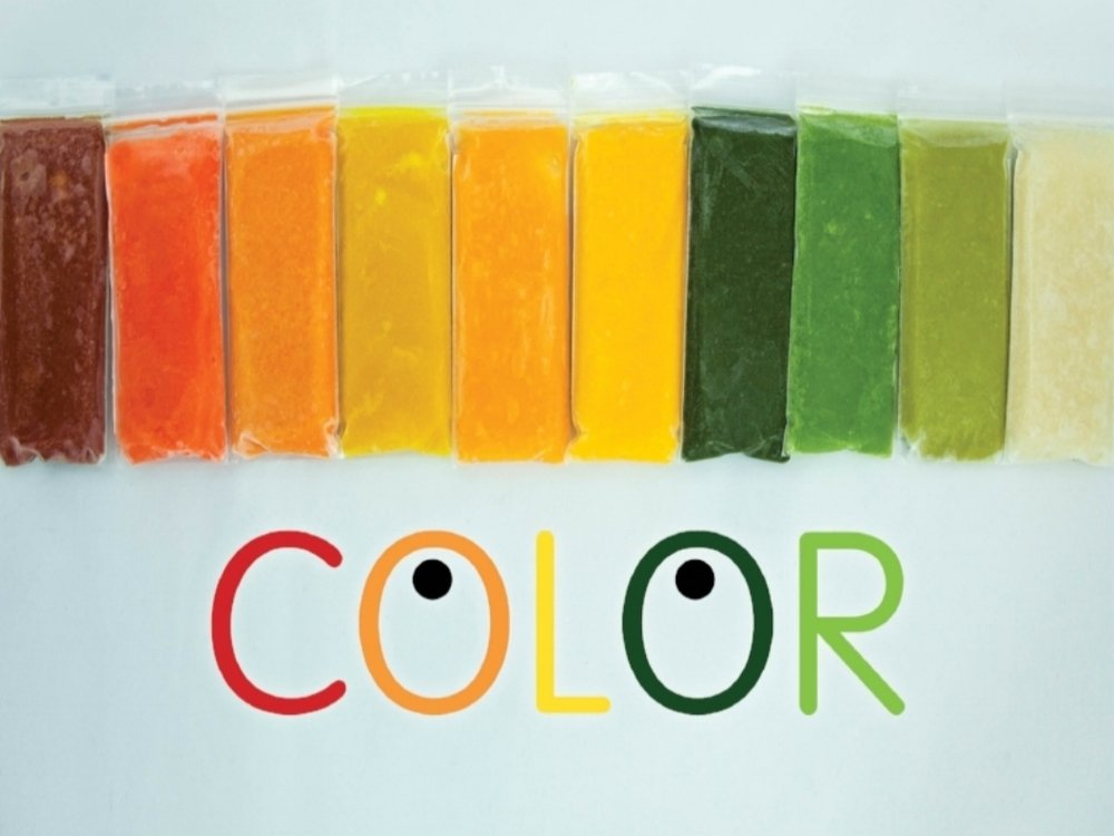 COLOR: Babies eat with their eyes as much as their mouths and offering them a rainbow of colors you stimulate all their senses