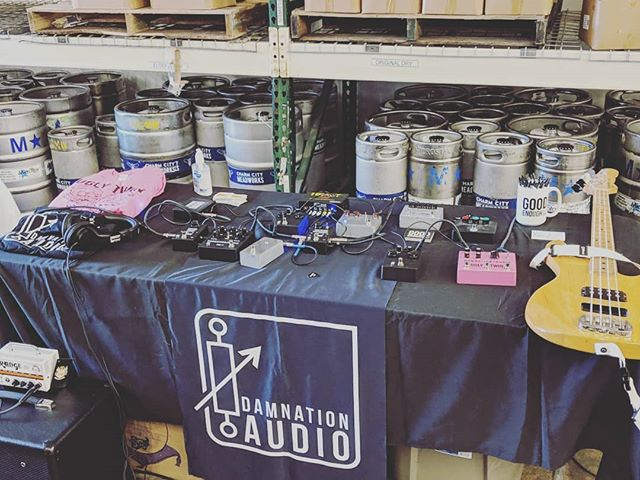 Set up and ready to go.  See you all in a bit.  @developing_nations @noisekickfx @oldtownlutherie @brothersmusicbmore are setting up as well.  @dirgeelectronics and @bluebeardfuzz are on their way too.