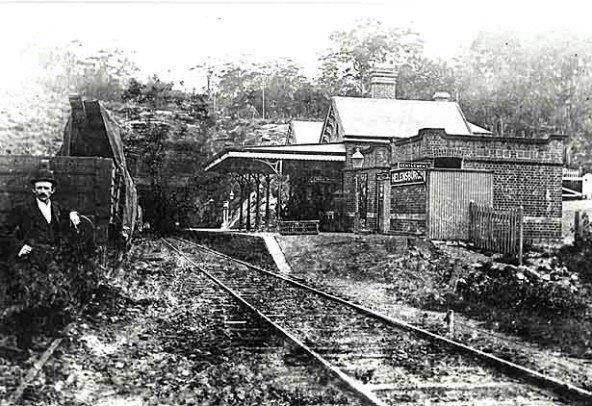Helensburgh's first Railway Station (part of which still exists today). Metropolitan Tunnel in the background. State Records NSW – Photographic Collection