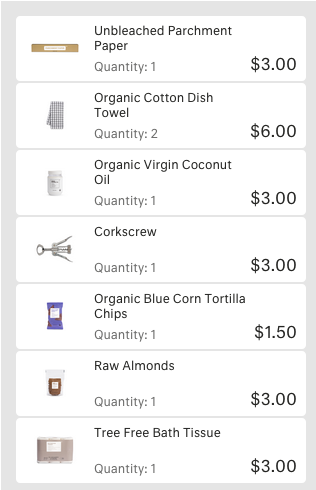 A screenshot of my order on Brandless.com