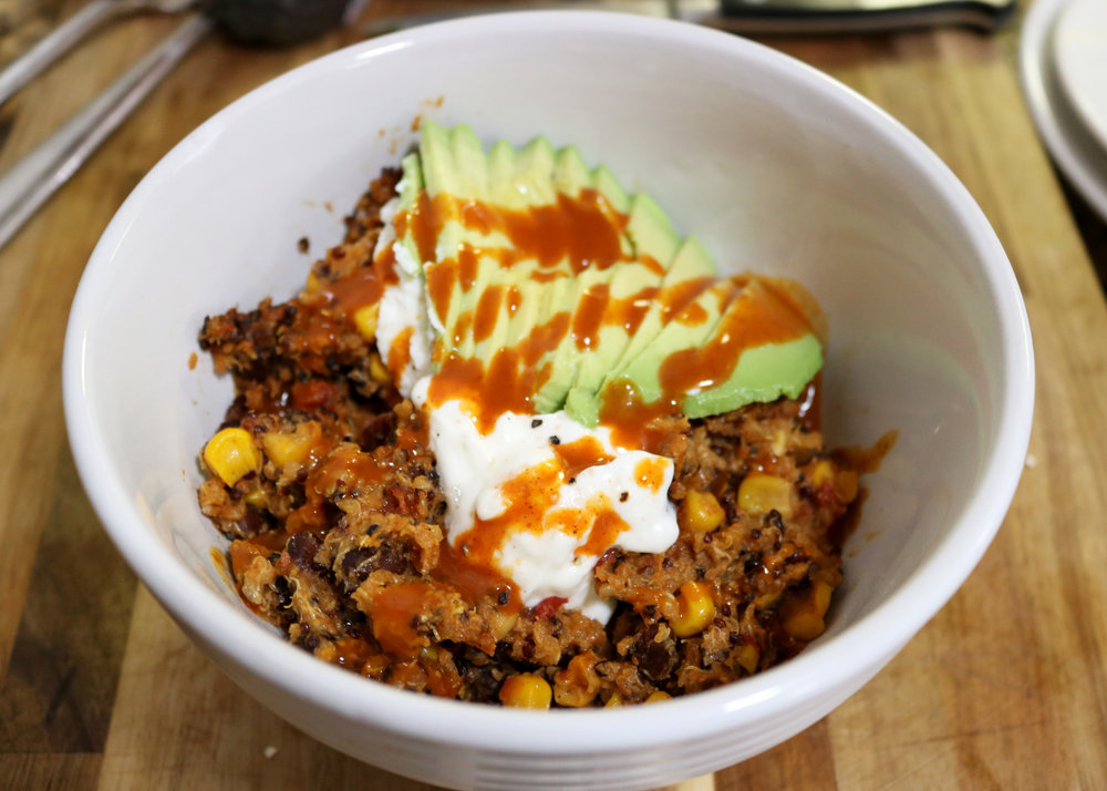 Serve with sliced avocado, sour cream, and more enchilada sauce- if you want!