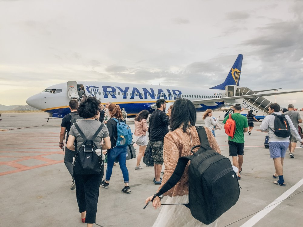Boarding the Ryanair plane from Athens to Santorini