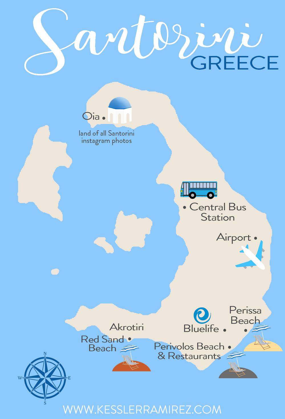 Map of Santorini Greece by Kessler Ramirez
