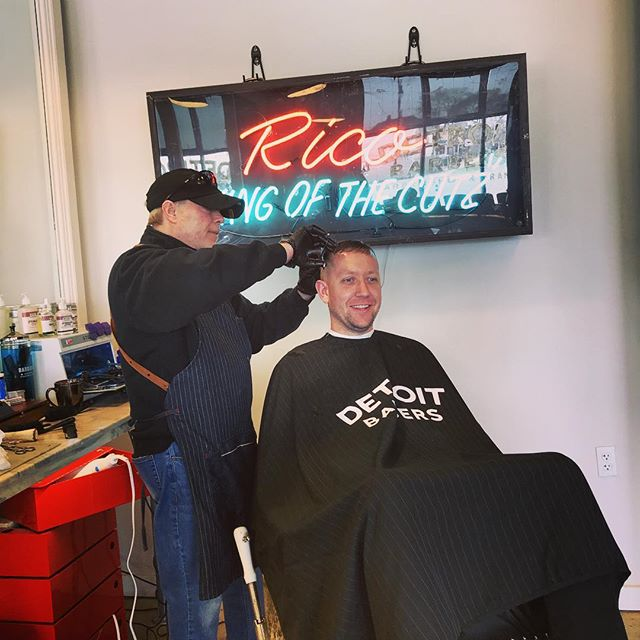 "Luke getting cut at @detroitbarberco by @rich_detroitbarbers... Go see ""Rico, ""King of the Cutz""!!!"
