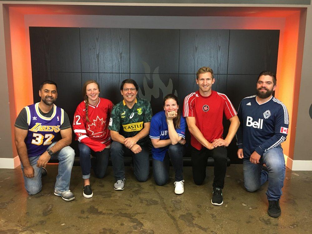 Team STG: (l-r) Ray Walia, Claire Robinson, Gary Boddington, Dannie Boyd, Mark Pearson, Tyler Wilson