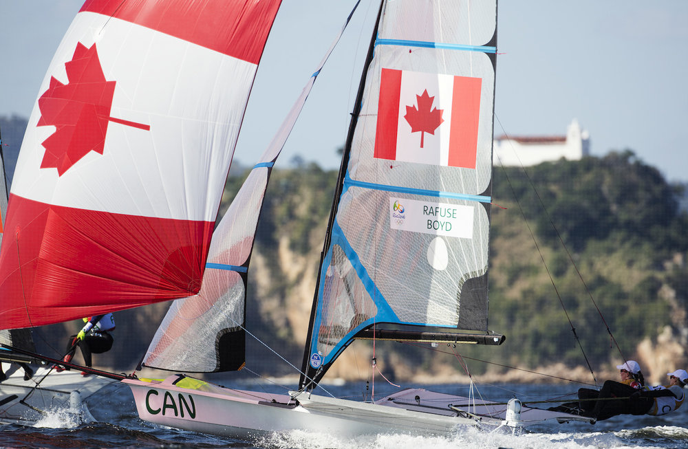 Dannie ripping it up downwind in Rio with teammate, Erin Rafuse