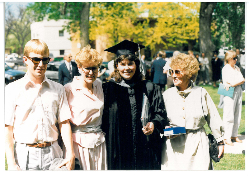 Lyle, Cheri, Lynn and Norma at Lynn's vet school graduation (1988)