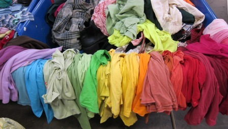 To promote awareness of American over-consumption, our materials were t-shirts purchased at the Goodwill bulk store in South Seattle.    My haul after an hour of pulling? A virtual rainbow of possibilities.    I don't mean to be so predictable, it just happens.