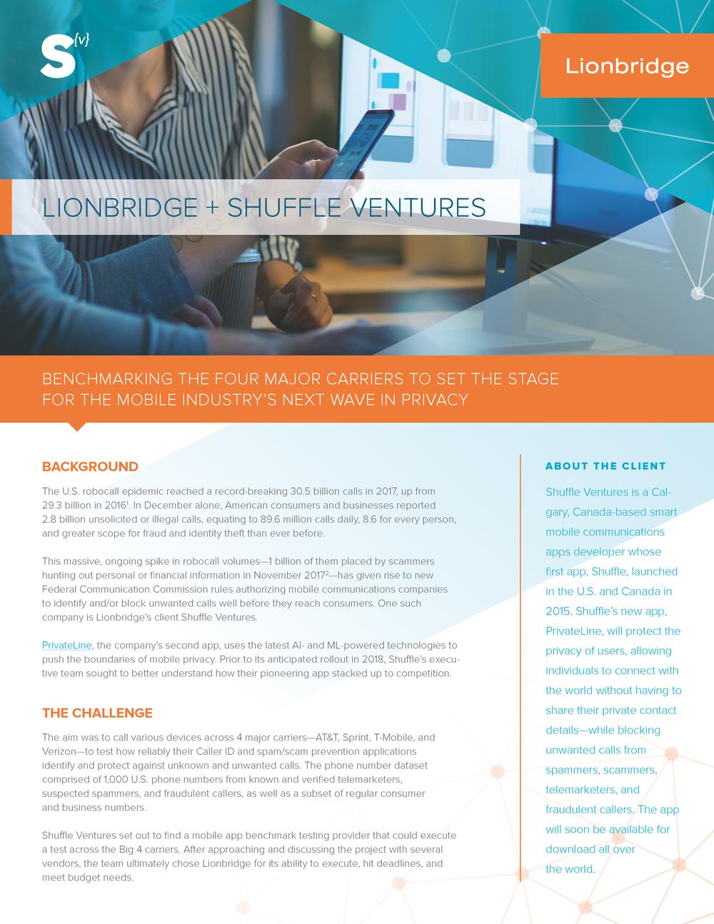 CASE STUDY:  Lionbridge + Shuffle Ventures