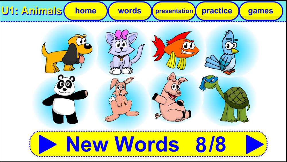 The key vocabulary for unit 1: Animals.