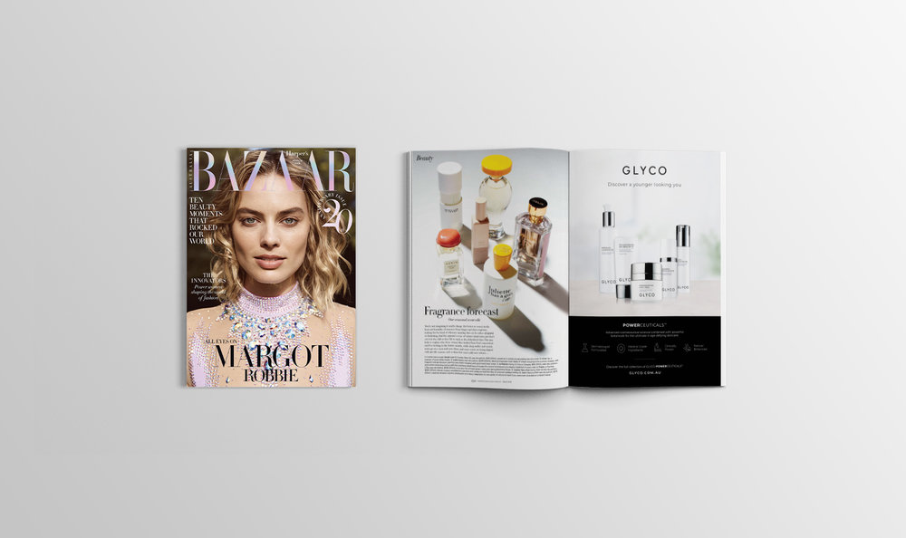 Harpers Bazaar 20th Anniversary edition - GLYCO full page advertisement