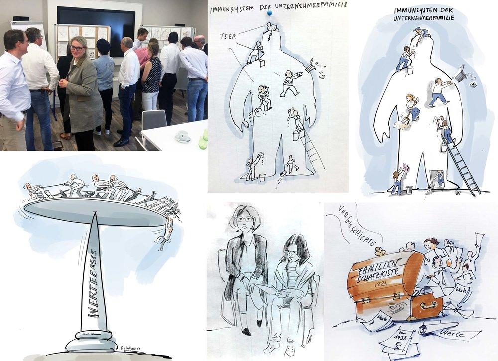 Workshop Zeichnen auf einem Workshop für ein Familienunternehmen. Erste Ideen zunächst auf Papier, die hier anschließend auf Stellwänden präsentiert wurden. Im Nachgang habe ich ausgewählte Skizzen auf dem iPad Pro finalisiert. (In den Pausen zeichne ich die Teilnehmer auch mal gerne nebenbei).