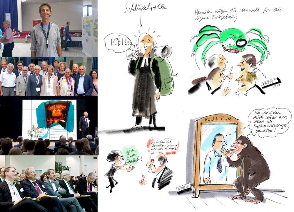 Wittener Kongress für Familienunternehmen   Während der Vorträge und in diversen Workshops, übersetze ich Schlüsselbegriffe in Zeichnungen/Cartoons, zeichne relevante Passagen simultan mit (Visual Recording) und ergänze/finalisiere diese in den Pausen oder im Anschluss.