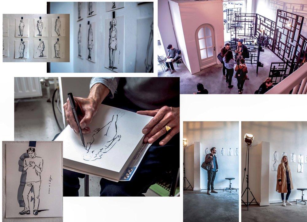 Hien Le for Zign ZALANDO   In einer Galerie in Hamburg zeichne ich die Besucher als gesamte Figur auf ein kleines Format. Hier präsentiert ein Designer seine neue Schuhkollektion und die Idee ist es, dass ich den Besuchern diese Schuhe an die Füße zeichne. Schräg und nicht ganz einfach. Später wurde es übrigens deutlich voller dort ...