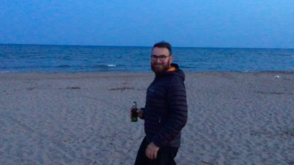 Finally enjoying a beer on the beach in Vias. (Sorry for the quality. I have a potato for a phone).