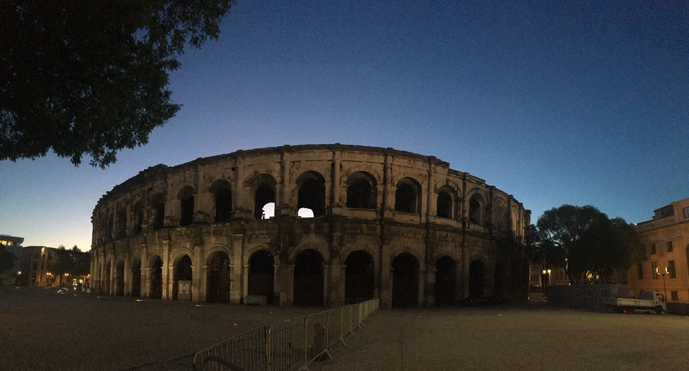 Arena of Nîmes at night. There was a Roman Gladiator Games there the following day.