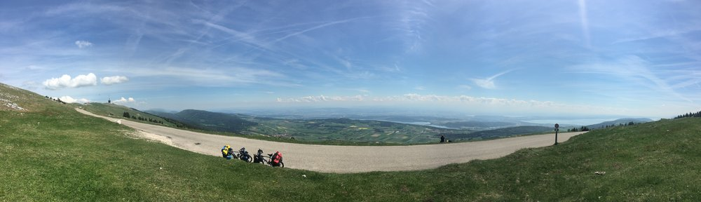 View from the top of Chasseral. You can see Lakes Neuchâtel, Biel and Murten.