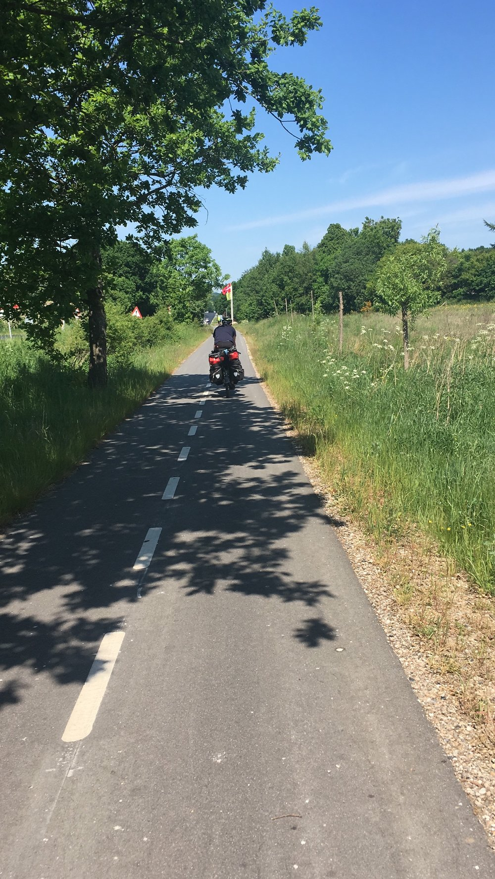 Denmark has an excellent cycle highway system, which keeps you completely off the road.