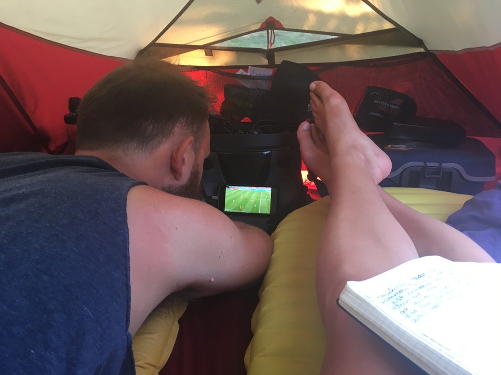 We also got to watch England beat Panama in the comfort of our tent.