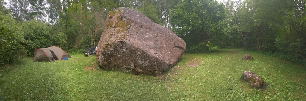 Despite the RMK app, we did struggle to find a wild camp spot one night, and inadvertently visited Piretikivi Boulder, which we camped behind. According to legend, the wife of Suur Tõll – a giant hero in Estonia mythology – was carrying rocks for a sauna stove, when her apron strings ripped, causing her to drop this rock on her foot.