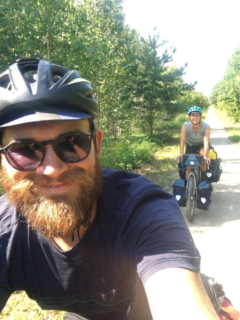Cycling along without a care in the world. Before we found out we were on Saaremaa's Most-Wanted list.