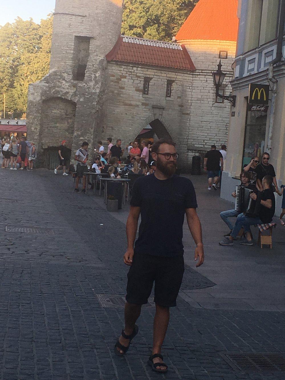 Dan being eaten by Tallinn's Old City Wall.
