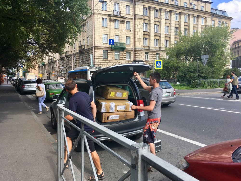 There was no way we could have shipped the bikes without the help of Dmitriy – and his car!