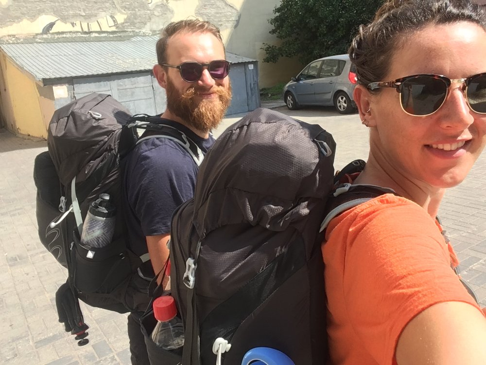 Now we're just a couple of backpackers, who apparently walk 112km a week. Yes I'm carrying stove fuel. Two litres of the precious stuff, since we couldn't ship it.