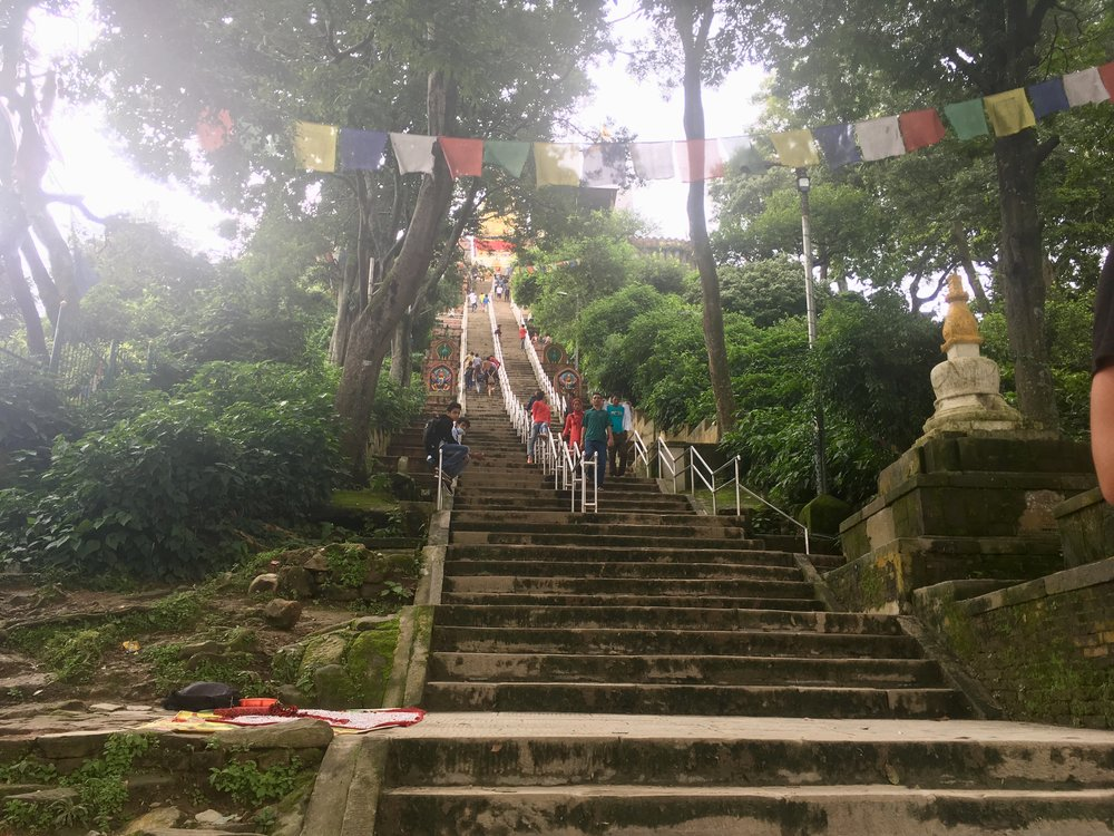 We really felt the climb to Swayambhunath temple, after not cycling for so long.