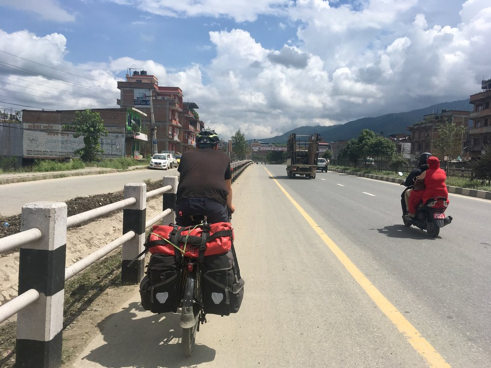 To get to Bhaktapur, we had our first taste of highway cycling. It was actually okay. The hard shoulder was as big as a lane, and we felt confident cycling along it when we saw people using it as a footpath.