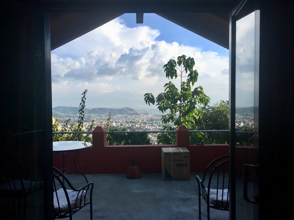 View of Kathmandu Valley from our cottage.