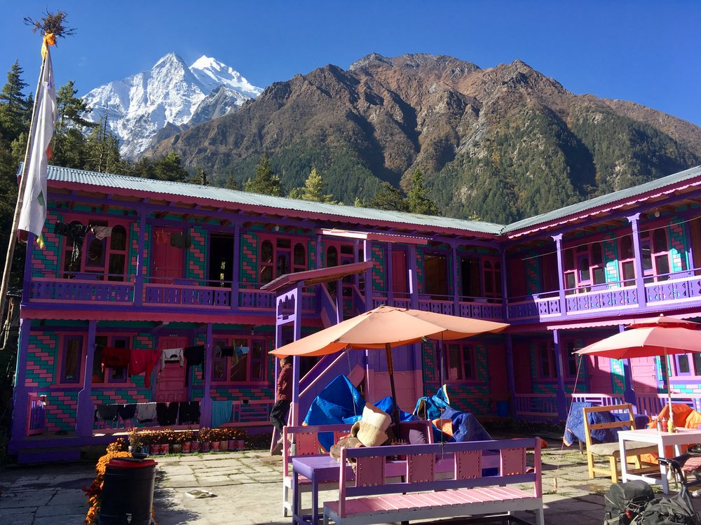 This was our tea house in Bargarchaap, which overlooked Annapurna II (7,937m).