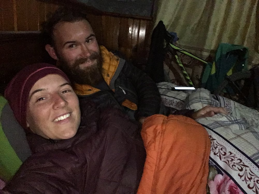 The rooms may have looked cosy, but they were freezing. A sleeping bag is essential. Above 3,500m, we were provided with a thick blanket. But we still slept in our hats and down jackets when it got really cold, and at 4,525m, we even wore gloves to bed.