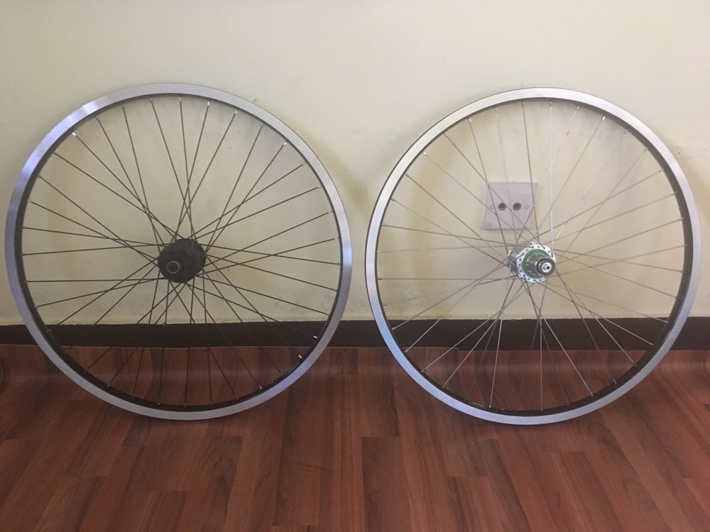 All of that for these. For bike nerds, we've switched from a Halo Vapour 32 hole rim with aluminium Hope Pro 4 hub, to Ryde Andra 30 36 hole rim with steel Hope Pro 4 hub.