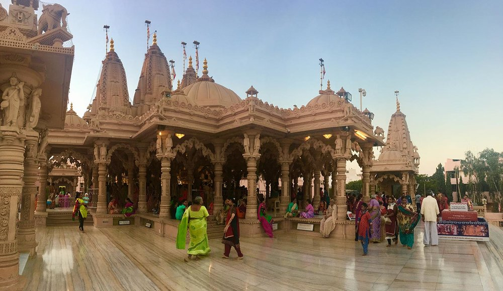 It's a Hindu temple built in 1999 using pink stone and marble. We were told by a lovely medical student we met there that the stone is the same type that was used to build the city Jaipur, nicknamed the PInk City.