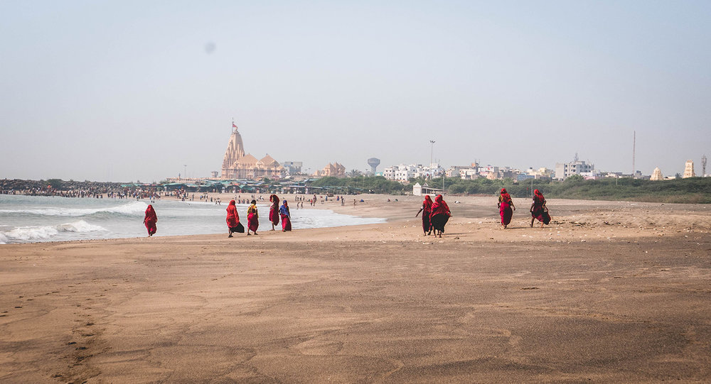Somnath Temple is in the background.