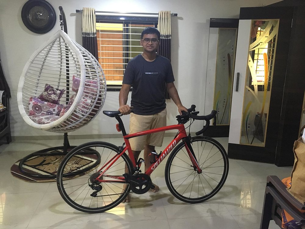 We found Avventure Bikes online. We knew Harshil was our guy when we saw that he stocked high-end bikes and products, rather than the usual rusted, one-speed Indian bikes.