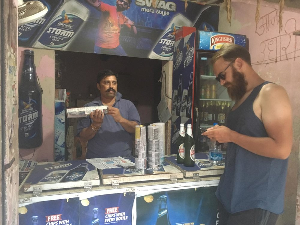 You have to go to a bottle shop to buy beer. In Diu they were £0.80, in Maharashtra they're £1.70 – and he charged £0.05 per beer to wrap them in paper…