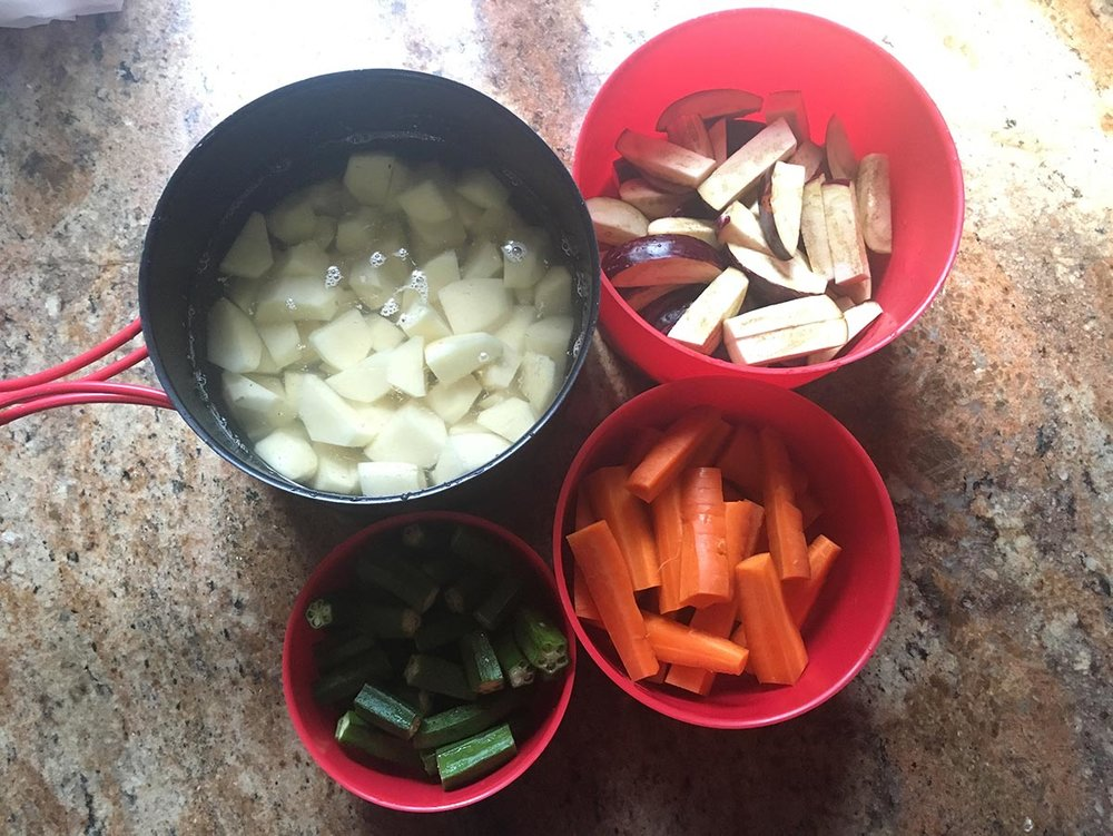 Christmas veggies chopped and prepped.