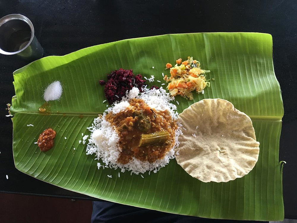 In the state of Tamil Nadu, nearly all meals we've had so far have come on a banana leaf. And no cutlery. Have you ever tried eating rice and curry with your hands? It's tricky. Your papadum only lasts so long…