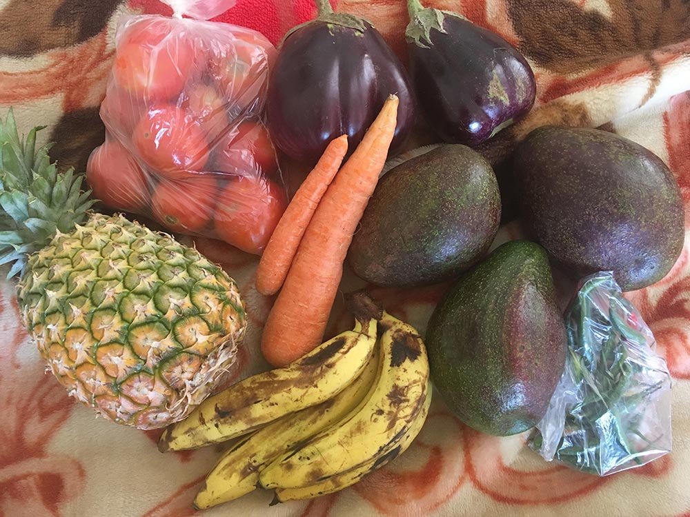 Also this week: another steal at the market. 10 tomatoes, 2 aubergines, 1 pineapple, 2 carrots, 2 avocados, 4 bananas and a bunch of chillies for £2.24.