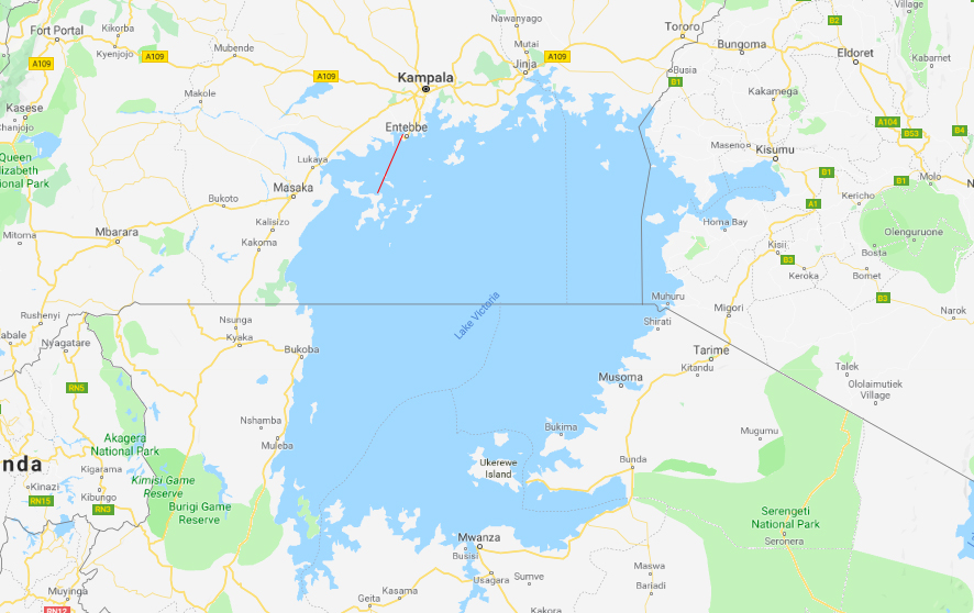Just to give you an idea of how big Lake Victoria is, here's the journey we made. The little red line in the top left is the ferry from Entebbe to Bugala – it took 3.5 hours.