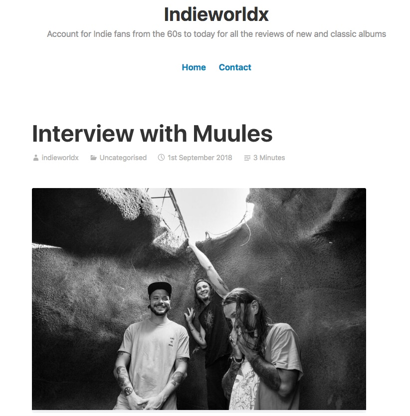 Indieworldx interview Rhys from Muules - Sept 1 2018 -