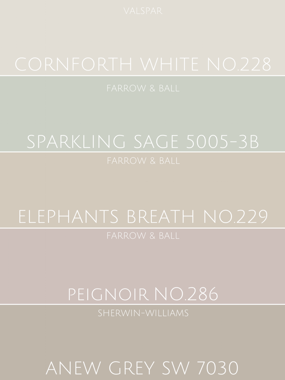 'New neutrals' colour chart examples.