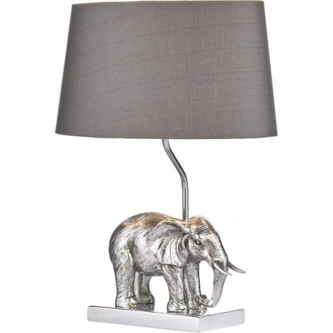Silvered Elephant Safari Table Lamp