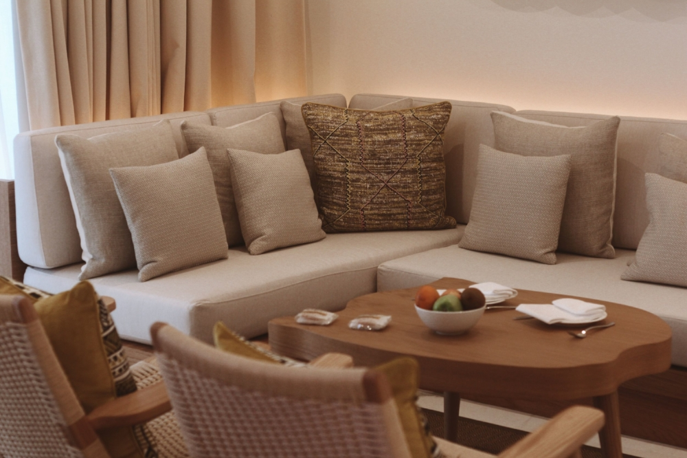 The natural, Japanese influences are continued in the seating area in our hotel room.