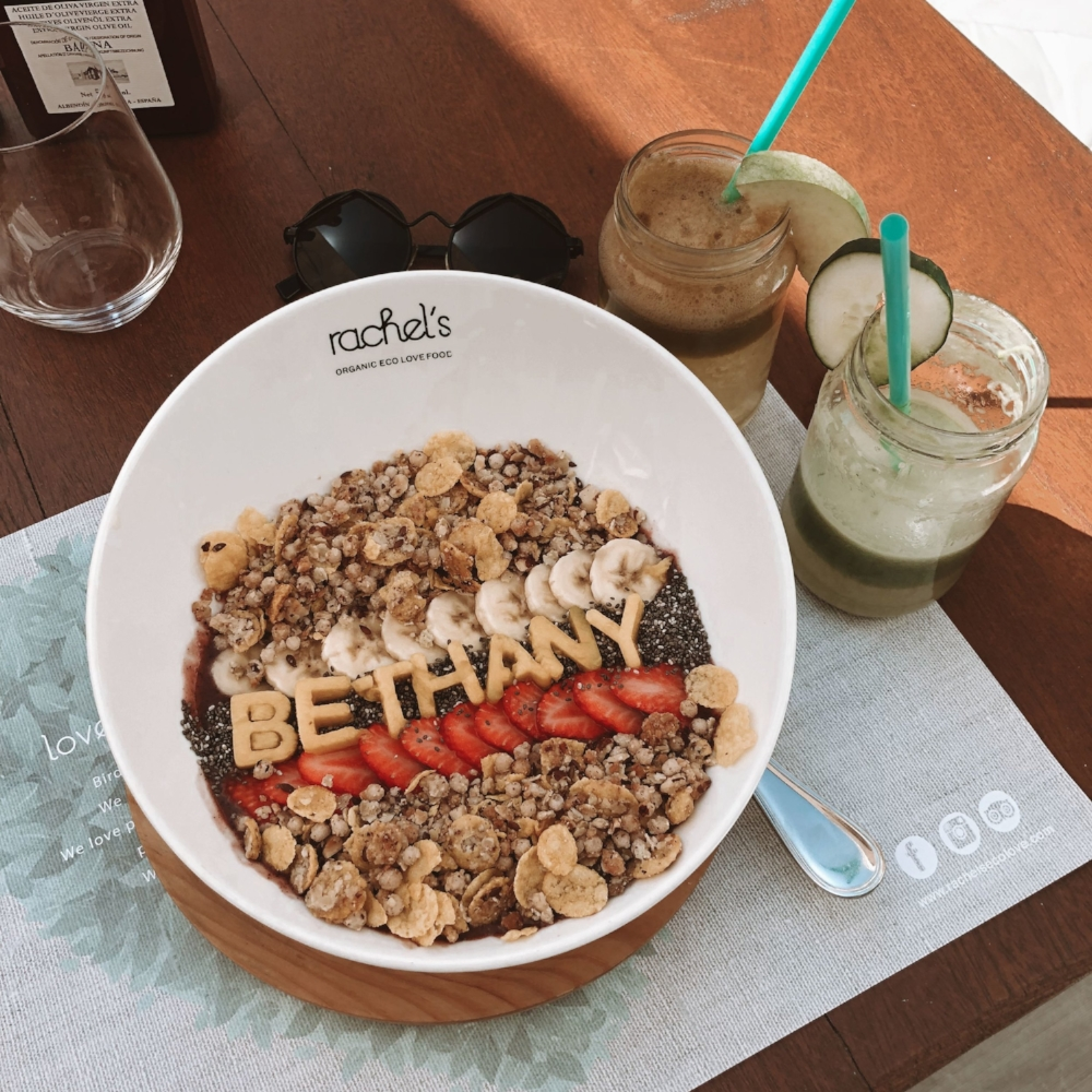 My açai bowl at Rachel's - a super healthy breakfast and lunch restaurant located 2 minutes from the hotel.