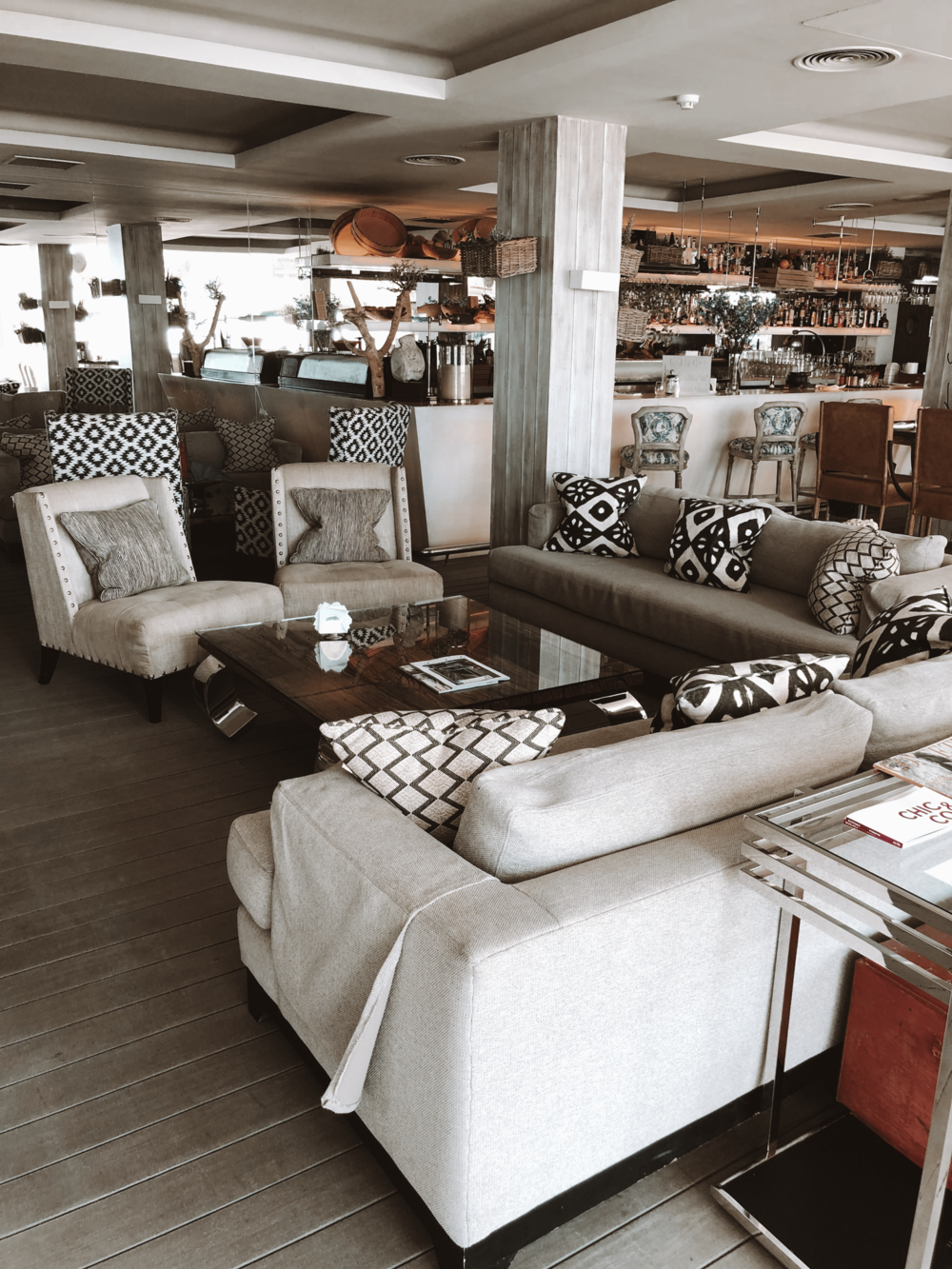 Beautiful rustic-chic interiors at the Sea Grill restaurant.