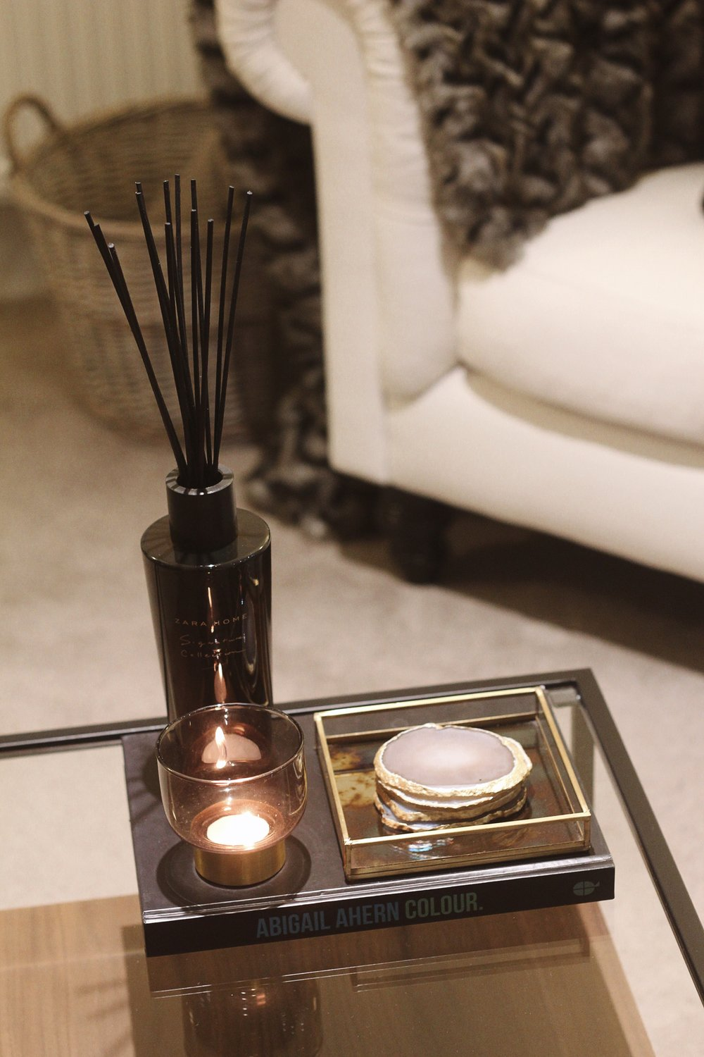 Abigail Ahern Colour  -  John Lewis Iridescent Square Tray  -  Zara Home Signature Collection Diffuser  -  Zara Home Tealight Holder