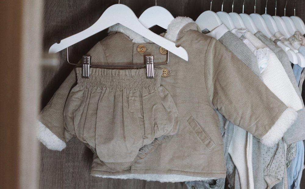 Hooded Corduroy Coat with Fleece Lining  &  Beige Baby Bloomers